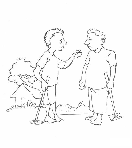 2 anh nông dân này đang tranh luận với nhau