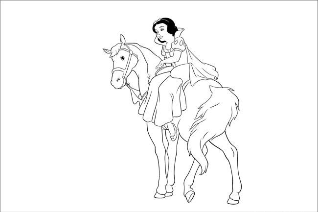 Bé hãy tô màu nàng công chúa Bạch tuyết đang cưỡi ngựa thật đẹp nhé!